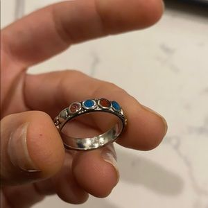 Size 6 silver ring turquoise and amber
